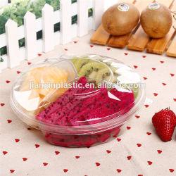 وعاء سلطة الفاكهة البلاستيكية القابل للتصرف ثلاث حجرات صندوق الفواكه سوبر ماركت