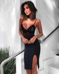 Mesdames sexy robe de patinage en dentelle Backless Fashion Split Bandage Slim robe pour boîte de nuit