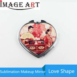 Sublimación en forma de corazón blanco espejo de maquillaje compacto para la transferencia de calor Pritnting