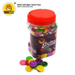 Cioccolato differente della moneta di colore in vaso