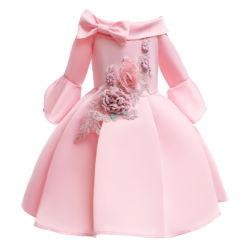 Chica del vestido con The-Shoulder a mediados de la camisa de flores bordadas de boda vestidos de niña