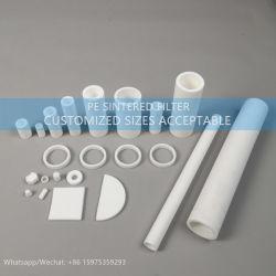 Qualidade elevada Porous 20/10/50 mícrones sinterizado plástico PE PTFE Filtro de mídia com mesa digitalizadora/Tubo/Haste/Filtro de disco de forma