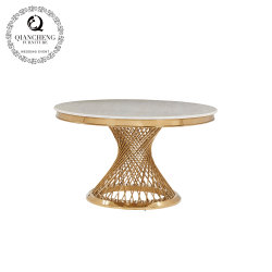 Hôtel de luxe du mobilier Table à Manger Table à manger d'or en acier inoxydable en forme ronde