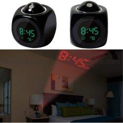 Conversando com relógio de Projeção de alarme de temperatura e luz de fundo para decoração