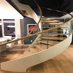 Hot Sale escalier de verre personnalisé plaque en acier verre escalier incurvé