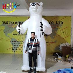 膨脹可能で白い白くまの歩くパペット膨脹可能な歩くプラシ天のパンダの白くま