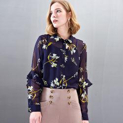 Новые моды дамы 100% Шелковый цветок печать, летние/пружины блуза/футболка одежда для женщин оптовая торговля