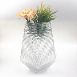 L'Artisanat de verre à la main à la verrerie Cold Cut Vase en verre transparent de couleur hexagonal mosaïque Handblown Vase en verre