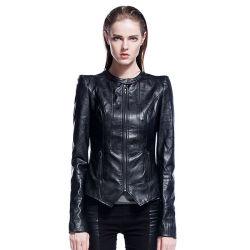 Dernière conception Manchon long hiver des blousons de cuir pour femmes