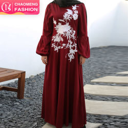 Em Stock Primavera Flor Da moda vestido bordado etnia muçulmana bordado branco Cutwork vestidos muçulmano de vestuário
