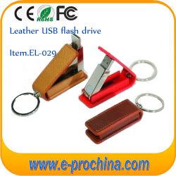Настраиваемые открыть поворотные натуральной кожи с брелок USB Flash Drive (EL029)
