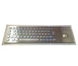 Het hete Verkopende Industriële Backlit Toetsenbord van het Metaal van het Toetsenbord met Trackball