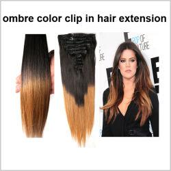 2015ブラジルの人間の毛髪の拡張の新製品120g 150g 220gの三重のWeft二重引かれた2つの調子の安いOmbreクリップ