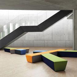 Muebles de oficina modernos salones de recepción de 7 asientos de tela seccional conjunto modular Sofás Oficina