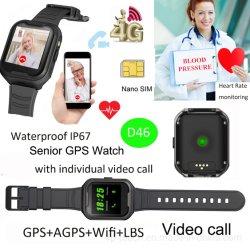 2019 Novo à prova de 4G GPS Sênior assista com chamada de vídeo D46