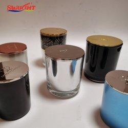 Kundenspezifisches Glaskerze-Luxuxglas mit goldener silberner Metallkappen-Luxus-Kerze