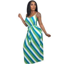 L5279新しい方法偶然の印刷されたストラップのマキシの服