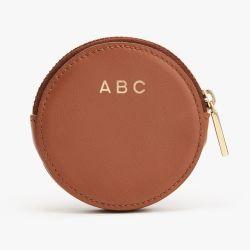 Nova fábrica personalizar a forma redonda pequena bolsa de moedas Zip de couro