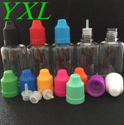 Bottiglia vuota di plastica liquida del contagoccia della bottiglia 3ml 5ml 10ml 15ml 20ml 30ml 50ml 100ml del vapore di Cig dell'animale domestico E con la protezione innocua per i bambini