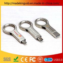 2019 Novo Anel de metal tipo chaveiro-C Unidade Flash USB o logotipo personalizado Dual-Use Telefone móvel USB Plena Capacidade Cartão USB