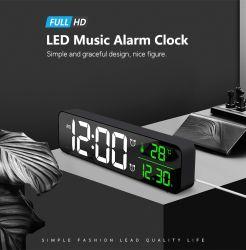 Miroir numérique Alarm clock Horloge murale avec thermomètre de température de date pour l'horloge à LED de bureau à domicile