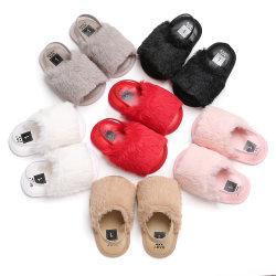 Les petites filles Superstarer 2020 mignon brun rouge les diapositives de la fourrure Sandals Kids bébé les diapositives de la fourrure avec ceinture élastique