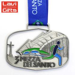 Выштампованные Золотой лист Логотип туристических сувениров Sport Award металлические медальон медаль подвес
