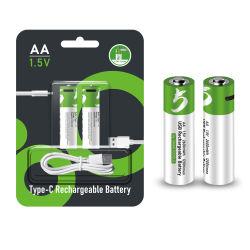 ロゴのブランドのカスタム充電電池1.5V 1.2V AA AAAの再使用可能なタイプC USB充満ポートAA AAA電池のリチウム卸売