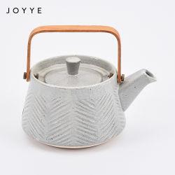 Joyye cerâmica personalizado moderno conjunto de chá bule de chá com pega de madeira