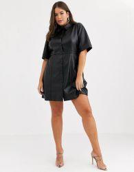 Moda as mulheres com excesso de Curva de vestido de couro natural Look Minibotão através de vestir a camisa em preto