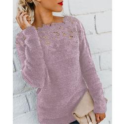 المرأة في S Plain Color Stitching Lace Lace Long Sleeve (قلادة طويلة) [ت] [شيرت] - 2
