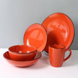 Logotipo personalizado de gres cerámica vidriada de Color de la cena de vajilla vajillas juegos de Juegos