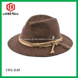 Hoeden van de Cowboy van Brown100% de Wol Gevoelde met Decoratie (CPA_21024)
