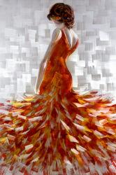 100%の内部の装飾のためのハンドメイドの優雅な女性油絵との3D金属の壁の芸術