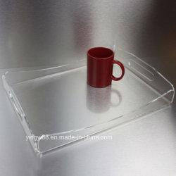Comercio al por mayor costumbre de plástico acrílico transparente que sirve cócteles de bandeja para alimentos bebidas parte