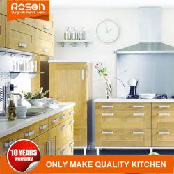 Haut de gamme en bois de placage de bois de teck personnalisé avec le blanc des armoires de cuisine