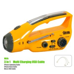 太陽手動クランクの懐中電燈標識の携帯電話の充電器の緊急時のラジオ