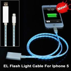 iPhoneのためのEL Visible Flowing LED USB Data同期信号Charging Cable