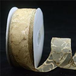Проводной Organza рождественские украшения для отдыха рулона ленты
