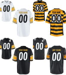 Voetbal Jerseys van het Spel van de Elite van Pittsburgh de Witte Zwarte Gele Aangepaste Amerikaanse