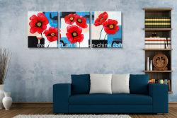 Couleur de contraste à la main fleur moderne 3 panneaux de l'huile d'art mural de Peinture décoration maison (FL3-101)
