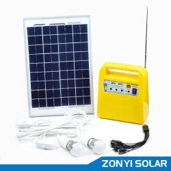 10W 솔라 DC 조명 시스템 + MP3/라디오 + 팬 + 4pcs 솔라 라이트(ZY-102R)