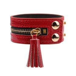 Druckknopf-Haken-Legierungs-Reißverschluss-Dekor-multi Farben-breites ledernes Troddel-Armband für Frauen (ESG11087)