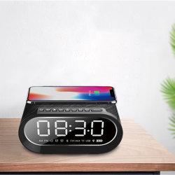 큰 소리로 자명종 발광 다이오드 표시 핸즈프리 휴대용 다중 매체 입체 음향 USB 경보 Qi 무선 비용을 부과 FM 라디오를 가진 Charing 실내 침실 Bluetooth 무선 스피커