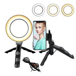 Selfie éclairage annulaire de 5 pouces, Mini-caméra réglable anneau lumineux à LED avec trépied
