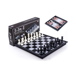 3 in 1 Magnetisch die Schaak van de Reis, Controleurs, het Spel van het Schaak van het Backgammon met de Raad van het Schaak wordt geplaatst