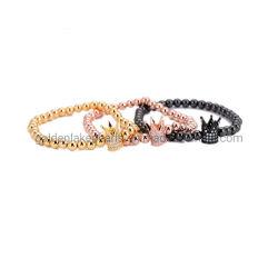 Mode Bijoux en argent de l'Hématite bracelets en or rose Champagne avec Black & White CZ Constatations en cuivre
