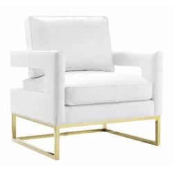 Mitte- des Jahrhundertsqualitäts-weicher weißes Leder-Sofa-Stuhl im Büro-Edelstahl-Goldende-Akzent-Stuhl