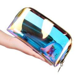 Custom Nouveau produit de lavage de maquillage transparente en PVC de voyage Pochette Sac cosmétique holographique