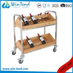 [2-تيرس] تصميم أفقيّة خشبيّة خمر تخزين من مع عجلات
